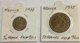 France , 1973 1/2 Franc KM 931.1 + 1975 10 Francs KM 940 , Used Coins - Altri