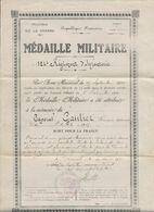 MINISTERE DE LA GUERRE   MEDAILLE   MILITAIRE    124e   REGIMENT   D INFANTERIE     CAPORAL   GAUTIER - Documents
