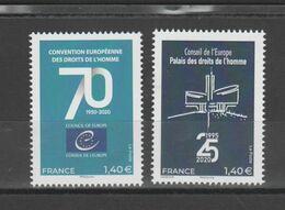 """FRANCE / 2019 / Y&T SERVICE N° 177/178 ** : CONSEIL (""""Droits De L'Homme"""", Convention 70 Ans, Palais 25 Ans) X 1 - Mint/Hinged"""