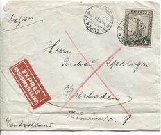 REF1841/ TP 292G S/L.Exprès C.Eupen 19/5/38 Via Bahnpost Köln-Herbesthal Z.1547-19/5/38 > Wiesbaden C.d'arrivée 20/5/38 - Belgium
