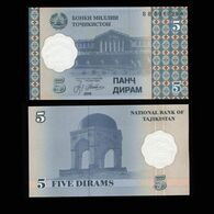 "Таджикистан 5 дирам 1999 года ""Pick 11"" UNC - Tajikistan"