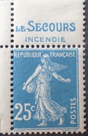 """R1337/429 - 1907 - TYPE SEMEUSE FOND PLEIN - N°140 NEUF** CdF Avec Publicité : """" LE SECOURS INCENDIE """" - Unused Stamps"""