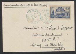 """France (1938) - Yv N°400 Sur Lettre """"Comm. Du Voyage Des Souv. Britaniques"""" Expédié Du Bourget > Camp De Mailly (Médecin - 1927-1959 Storia Postale"""
