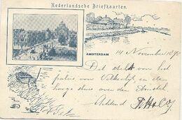 Amsterdam, Hooge Sluis En Paleis Volksvlijt (Litho 1898) (Het Zichtbare Raster Is Veroorzaakt Door Het Scannen) - Amsterdam