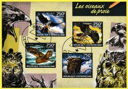 Bloc Oblitéré - Les Oiseaux De Proie Faucon Kobez  Balbuzard Pêcheur Effraie Du Cap Aigle De Wahlberg - RCA 2014 - Central African Republic