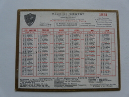 VIEUX PAPIERS - CALENDRIER PETIT MODELE 1931 - Maurice COUTOT Généalogiste - Calendars