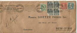 N°111+270X4 1DEFECTEUX+199+181 LETTRE FORMAT AMERICAIN MEC PARIS ST LAZARE PAQUEBOTS 10.XII.30 POUR USA - Postmark Collection (Covers)