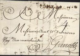 Marque Postale PONT BEAU . IN Lenain N°1 55x5 Pont De Beauvoisin Pour Grenoble Taxe Manuscrite 4  1750 - 1701-1800: Vorläufer XVIII