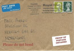 UK 2020 Aberystwyth Wales Mental Health For Chiildren Cover Prroof Of Postage Obtained Label - Wales