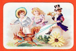 Vaf114 Rare Chromo Relief Habits Soie Attelage LAPIN ECUREUIL OEUF PAQUES Chocolat POULAIN Goutez Comparez 1900s Gaufrée - Poulain