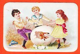 Vaf115 Rare Chromo Relief Habits Soie LAPIN OEUF PAQUES Danse Enfantine Chocolat POULAIN Goutez Comparez 1900s Gaufrée - Poulain