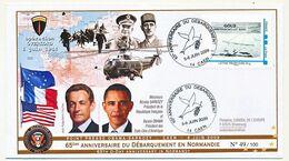 """FRANCE - Env Affr Timbre Personnalisé """"Gold Arromanches Les Bains"""" Obl Illustrée Anniv. Débarquement Juin 2009 - Gepersonaliseerde Postzegels (MonTimbraMoi)"""