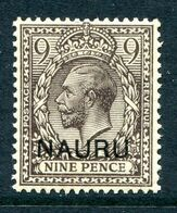 Nauru 1916-23 KGV GB Overprints - 9d Agate HM (SG 11) - Nauru