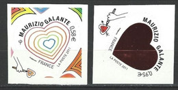 "FR Adhesif YT 510 & 511 (4528 & 4529) "" Coeurs De Maurizio Galante "" 2011 Neuf** - KlebeBriefmarken"