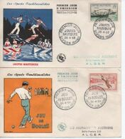 1958   FDC      SPOTS JOUTES BOULES.ARC LUTTE BRETONNE   N° YVERT ET TELLIER    1161/4 - 1950-1959