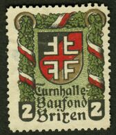 "Italia Südtirol Alto Adige ~ 1910 "" Turnhalle Baufond Brixen ( Bressanone ) "" Vignette Cinderella Reklamemarke - Erinnofilia"