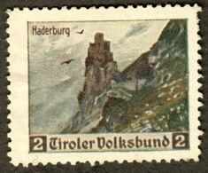 """Italia Südtirol Alto Adige ~ 1930 """" Tirol Volksbund Die Haderburg Bei Salurn Salerno """" Vignette Cinderella Reklamemarke - Erinnofilia"""