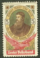 "Italia Südtirol Alto Adige ~ 1910 "" Tirol Volksbund Tiroler Adler Lebe Hoch "" Vignette Cinderella Reklamemarke - Erinnofilia"