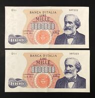 1000 Lire Verdi I° Tipo 10 08 1965  2 Esemplari Consecutivi Sp L+ Piega Verticale Centrale  LOTTO 2570 - [ 2] 1946-… : Républic