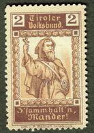 """Italia Südtirol Alto Adige ~ 1910 """" Tirol Volksbund Zsamm Halt N'Man'der Andreas Hofer"""" Vignette Cinderella Reklamemarke - Erinnofilia"""