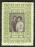 """Österreich ~ 1917 """" Kaiserpaar - F.d.Witwen- U.Waisenfond """" Vignette Cinderella Reklamemarke - Erinnofilia"""