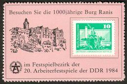 """Deutschland DDR """" Burg Ranis Bei Pößneck 20.Arbeiterfestspiele 1984 """" Vignette Cinderella Reklamemarke - Erinnofilia"""