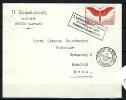 SUISSE Poste Aérienne 1927: LSC De Brugg Pour Berne Avec Le ZNr.F11, CAD Spécial - Airmail