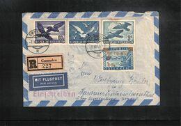 Austria / Oesterreich 1953 Flugpost Vogel / Airmail Birds Interesting Airmail Registered Letter - Posta Aerea
