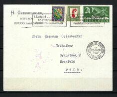 SUISSE Poste Aérienne 1927: LSC De Brugg Pour Berne Avec Le ZNr.F4,J37,J38, CAD Spécial - Airmail