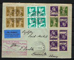 SUISSE Poste Aérienne 1933: LSC De Zürich Pour Milan Avec Les ZNr. Z18 (2x),K27y (2x), B. De 4 Des 185,169  CAD Spécial - Airmail