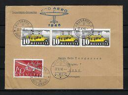 SUISSE Poste Aérienne 1946: LSC De Lausanne Pour Oslo Avec Le ZNr. F41, CAD Spécial - Airmail