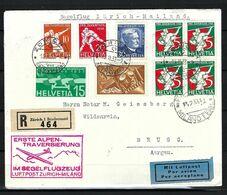 SUISSE Poste Aérienne 1933: LSC De Zürich Pour Brugg Avec Les ZNr. F6,F16, CAD Spécial - Airmail