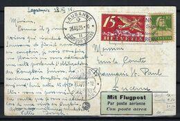 SUISSE Poste Aérienne 1925: CP Illustrée De Lausanne Pour Lucerne Affranchie à 25c., CAD Spécial - Airmail