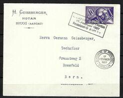 SUISSE Poste Aérienne 1927: LSC De Brugg Pour Berne Affranchie à 0,40Fr. Avec Le ZNr. F7,  CAD Spécial - Airmail