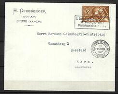 SUISSE Poste Aérienne 1927: LSC De Brugg Pour Berne Affranchie à 0,40Fr. Avec Le ZNr. F6,  CAD Spécial - Airmail