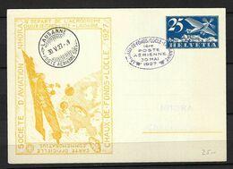 SUISSE Poste Aérienne 1927: CP Illustrée Entier De 25c. De Lausanne Pour Chaux-de-Fonds,  CAD Spécial - Airmail