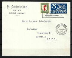 SUISSE Poste Aérienne 1927: LSC De Brugg Pour Berne Avec Le F5,  CAD Spécial - Airmail