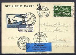 SUISSE Poste Aérienne 1926: CP Officielle De Bâle Pour Heiden Avec Le F4 Et Vignette Commémorative,  CAD Spécial - Airmail
