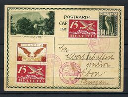 """SUISSE Poste Aérienne 1930: CP Illustrée Entier 10 De Bâle Pour Arbon Avec Les F3 (2x),F6,  CAD Spécial """"Zeppelin"""" - Airmail"""