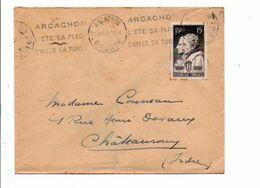 N° 845 SEUL SUR LETTRE DE ARCACHON 1949 - Marcofilia (sobres)