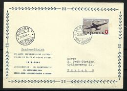 SUISSE Poste Aérienne 1944: LSC Illustrée De Genève Pour Zürich Avec Le F40,  CAD - Airmail