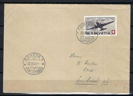 SUISSE Poste Aérienne 1944: LSC De Zürich Pour Genève Avec Le F40,  CAD - Airmail