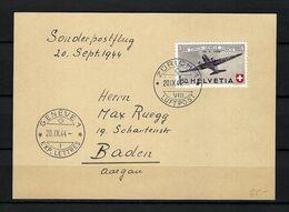 SUISSE Poste Aérienne 1944: LSC De Zürich Pour Baden Avec Le F40,  CAD - Airmail