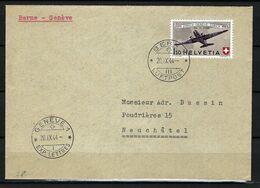 SUISSE Poste Aérienne 1944: LSC De Berne Pour Neuchâtel Avec Le F40,  CAD - Airmail