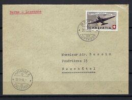 SUISSE Poste Aérienne 1944: LSC De Berne Pour Lausanne Avec Le F40,  CAD - Airmail