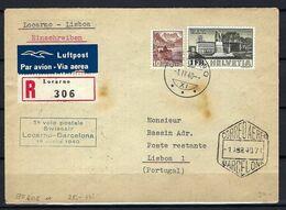 SUISSE Poste Aérienne 1944: LSC Rec. De Locarno Pour Lisbonne Avec Le ZNr.214,  CAD Spéciaux - Airmail
