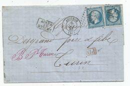 """- VAUCLUSE - AVIGNON - GC.206 S/TP Napoléon III N°22x2 + Càd T.15 + """"PD""""rouge+ Apres DEPART - 1863 - 1862 Napoléon III"""