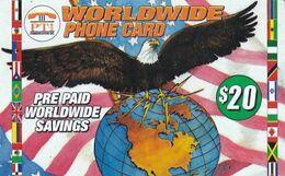USA - Eagle & Globe, Flags, PT1 Prepaid Card $20, Exp.date 09/98, Used - United States
