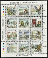 1990 Guernsey Christmas: Winter Birds Minisheet (** / MNH / UMM) - Songbirds & Tree Dwellers