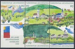 LIECHTENSTEIN  Block 16, Postfrisch **, 300 Jahre Liechtensteiner Unterland, 1999 - Blocks & Kleinbögen